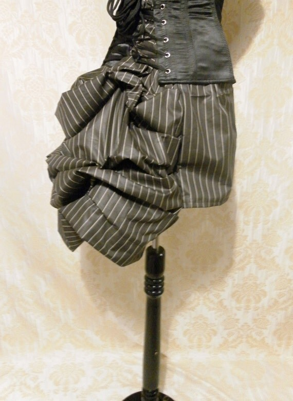 Striped Steampunk Mini Bustle Skirt ONLY ONE LEFT