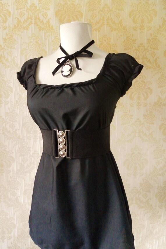 Black cotton peasant blouse -choose your size
