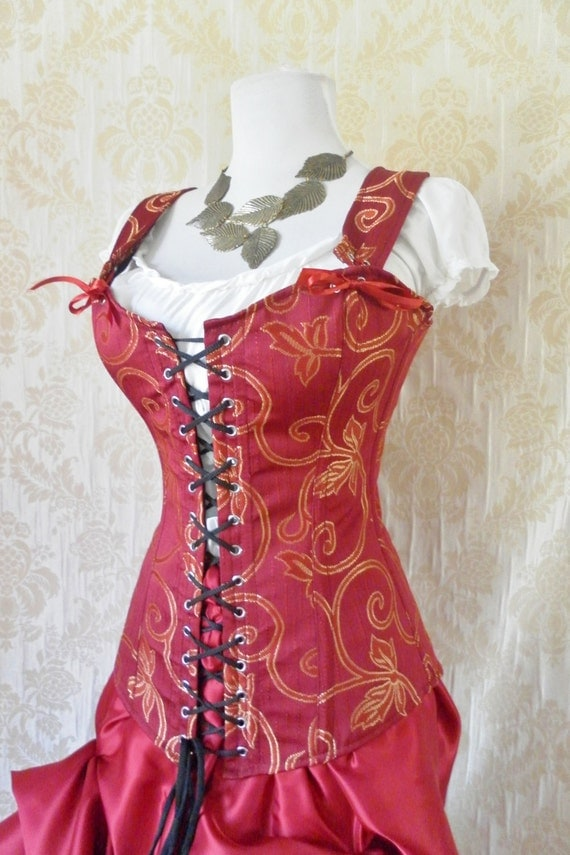 WAS 159-Red brocade overbust corset-steel boned corset in Freyja style-to fit 24-26 inch natural waist