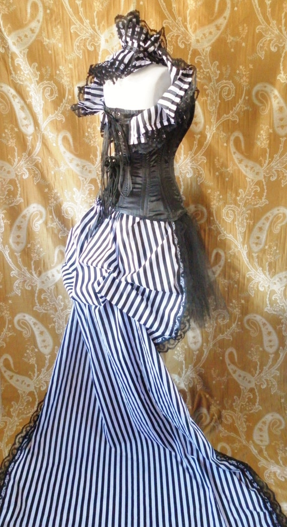 cabaret circus stripe tie on bustle skirt one size