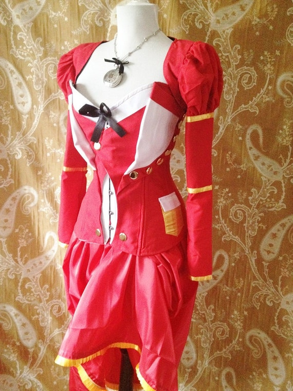 White Rabbit Steampunk Military Alice In Wonderland Corset Outfit -Whole Outfit-Made To Your Measurements
