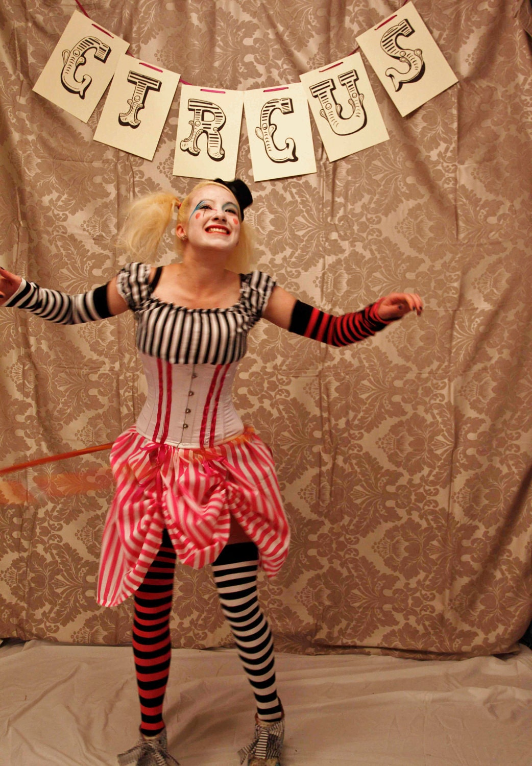 Circus Clown Corset Costume Oufit-CORSET ONLY-Made In Any Size