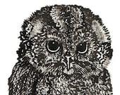 Owl Noirblanc Original Ink Drawing\/Art