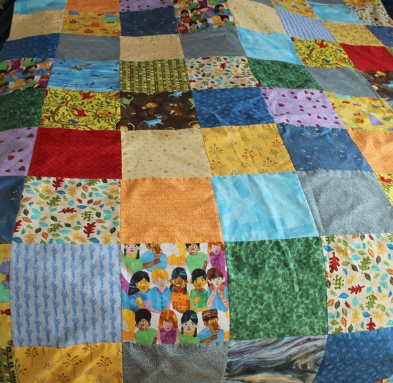 Custom Order Twin Size Childs Bright Patchwork Duvet Cover (RESERVED FOR CDRUBIN)
