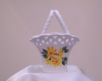 Hand Painted Mini Ceramic Basket with Yellow and Orange Daisies