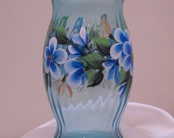 Hand Painted Teal Glass Vase with Teal Flowers