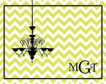 Custom personalized note cards chandelier note card, personalized notecards, personalized stationery, monogram stationery, monogram