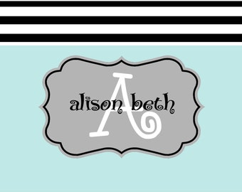 Classic personalized notecard, custom personalized stationery, personalized note cards, wedding, Black striped border note card with name