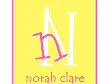 custom personalized stationery custom notecards personalized note cards Yellow with hot pink note cards