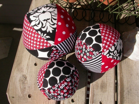 FEATURED in PARENTS.COM - Developmental Visual Stimulation Fabric Ball Set.......They Rattle and Squeak