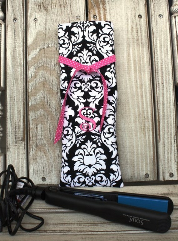 Monogrammed Insulated Curling Iron/Flat Iron Travel Bag - Damask