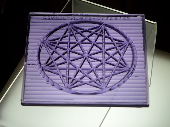 rare LARGE 5x5 antique purple glass STAR prism tile plus display STAND