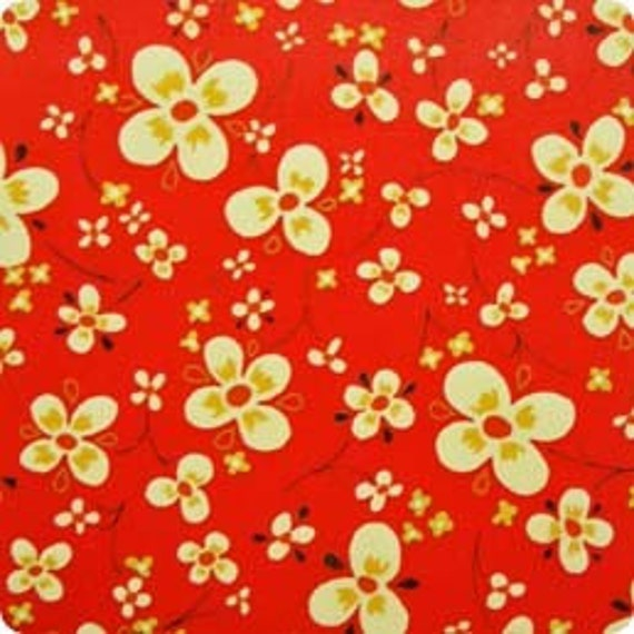 Custom listing for Anne SALE Farmdale Blossom - Tomato - cotton fabric - Alexander Henry - 3.4  yards plus