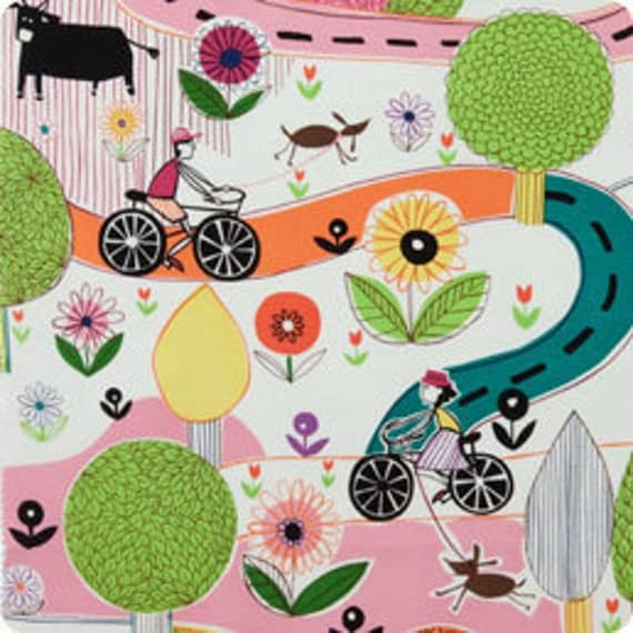 SALE Park and Ride in Bright - cotton fabric - Alexander Henry - 26 inches