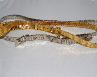 Vtg Silver and Gold Metallic MESH Belts Waist size 32 to 38 inches Size M to XL