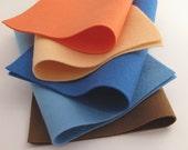100% Wool Felt Sheets - Shells on the Shore Color Story - Five Sheet Set - Coral Felt, Peach Felt, Blue Felt, Brown Felt