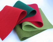 100% Wool Felt Sheets Set  Classic Christmas Color Story   Red Evergreen Olive Avocado  Christmas Colors  Crafting Supply