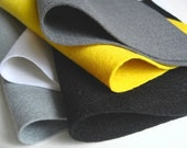 Wool Felt Fabric, Goldfinch Color Story, Five Sheets, Black, Grey, Slate, White, Yellow, Handwork Supply, Applique, DIY Felt Crafts