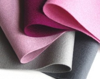 100% Wool, Ashes of Roses Color Story, Felt Fabric, Rose Pink, Red Violet, Smoke, Soft Plum, Slate Grey, Merino Felt Assortment, Wollfilz