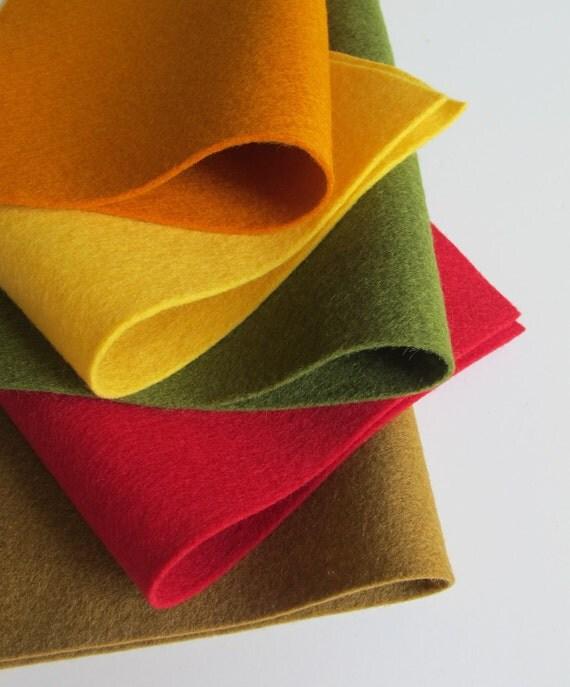 Wool Felt Sheets, Thanksgiving Color Story, Olive, Dark Red, Butter Yellow, Acorn, Sweet Potato, Wool Applique, Pilgrim, Primitive, Autumn