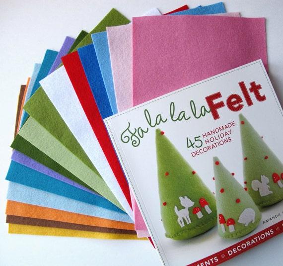 Wool Felt and Craft Book Set, Fa La La La Felt, Wool Felt Sheets