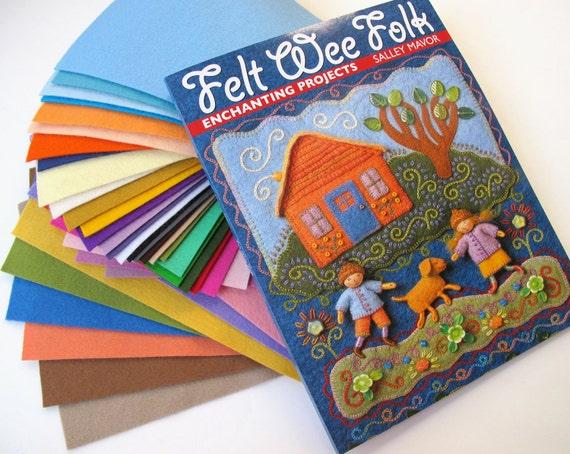 Wool Felt and Craft Book Set  Felt Wee Folk  Felt Sheets Sally Mavor Felt Assortment  Handwork Embroidery Waldorf Fairy Acorn Cap Doll