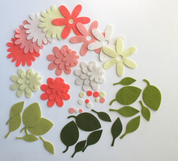 Felt Flowers and Leaves Set Die Cut  Scrapbook  Hair Clip Crochet Supply Applique Daisy Leaves Coral Pink Yellow Ecru Ivory Embellishment