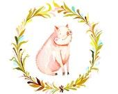 Sweet Pig art print | Farm Animall Wall Art | watercolor print