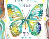 Free To Fly Art Print | Watercolor Quote | Inspirational Wall Art | Butterfly | Katie Daisy | 8x10 | 11x14