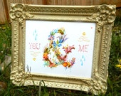 You and Me art print | 8x10 | Floral Ampersand | Watercolor Typography