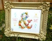 You and Me art print | Floral Ampersand | Watercolor Typography