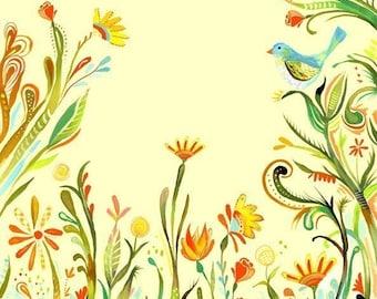 Garden Party watercolor paper print | Spring Wall Art | Katie Daisy