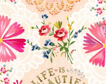Life is Beautiful Print    Watercolor Quote   Inspirational Lettering   Wall art   8x10   11x14