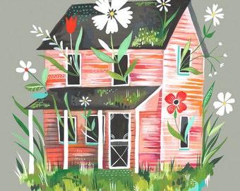 Prairie Home Art Print | Farmhouse Wall Art | Colorful Painting | Katie Daisy Artwork | 8x10 | 11x14