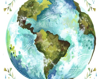 Dear Earth Art Print  | Watercolor Wall Art | Inspirational Print | Globe | Katie Daisy |  8x10 | 11x14