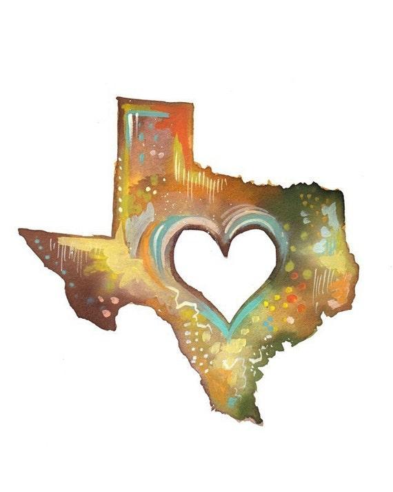 Texas Print | State Wall Art | Watercolor Artwork | Katie Daisy | 8x10 | 11x14