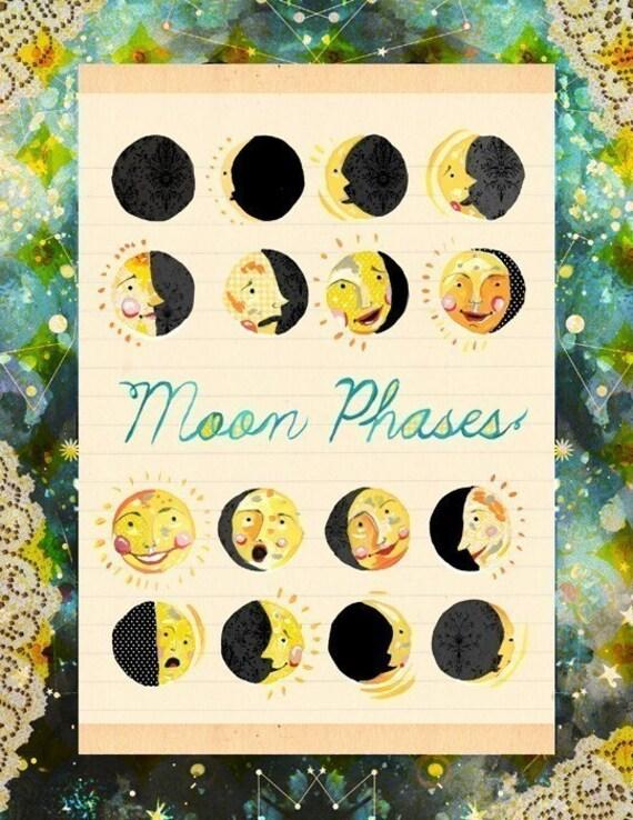 Moon Faces Art Print | Moon Phases Wall Art | Nursery Decor | Celestial Artwork | Katie Daisy | 8x10 | 11x14