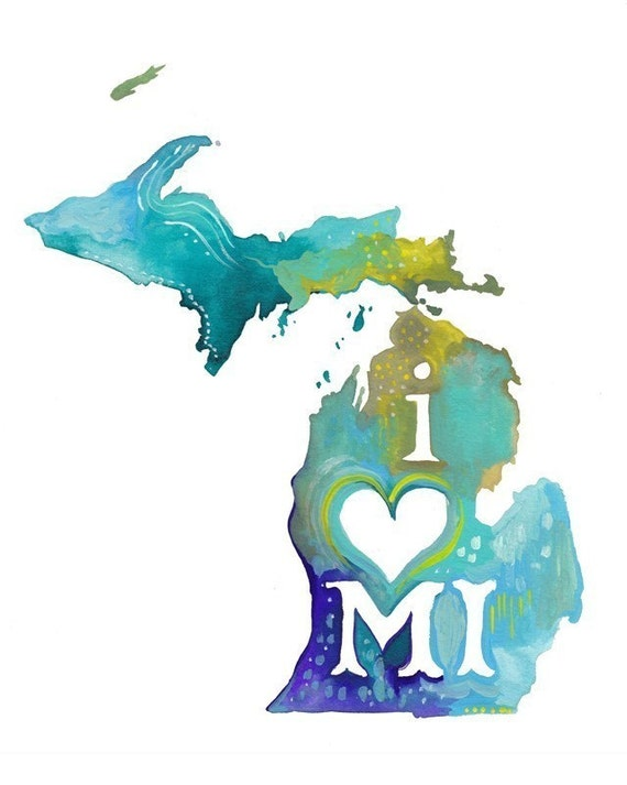 Michigan art print | State Wall Art | Watercolor painting | Map Art