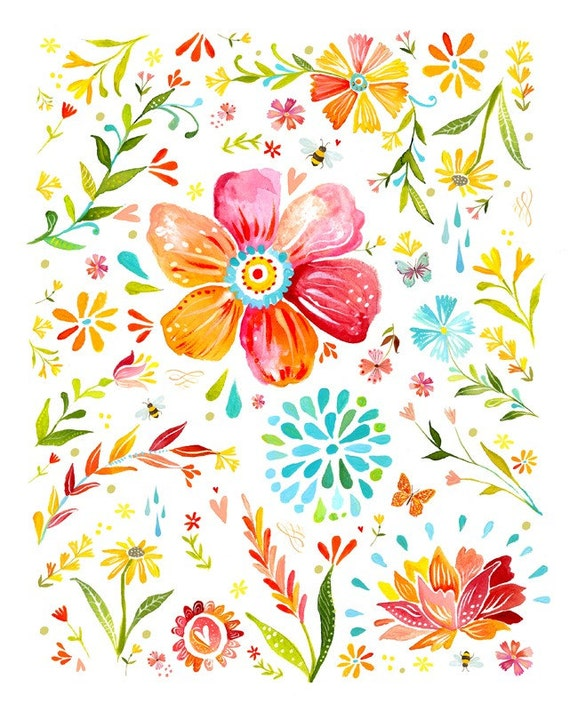 Posies Floral Art Print | Watercolor Painting | Nursery Decor | Katie Daisy | 8x10 | 11x14