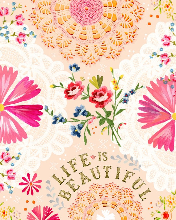 Life is Beautiful Print  | Watercolor Quote | Inspirational Lettering | Wall art | 8x10 | 11x14