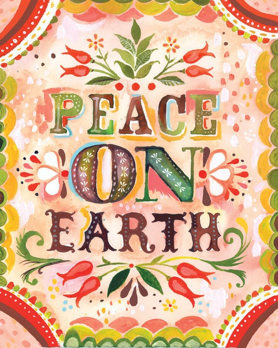Peace on Earth Print | Forest Painting | Watercolor Wall Art | Katie Daisy |  8x10 11x14