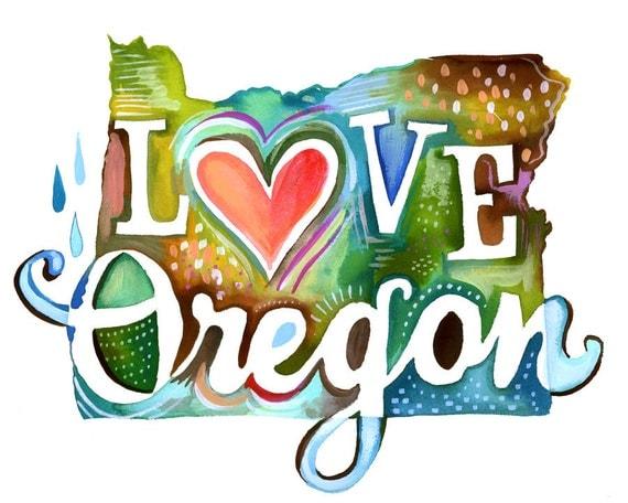 Love Oregon art print | Watercolor State Art | Wall Art | Katie Daisy | 8x10 | 11x14