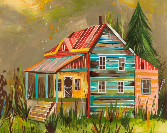 Someday Cottage art print | Cabin Wall Art | Rustic Landscape Painting | Katie Daisy | 8x10 | 11x14