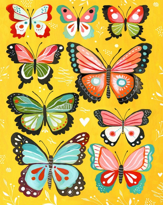 Butterfly Collection art print | Nursery Decor | Colorful painting | Katie Daisy