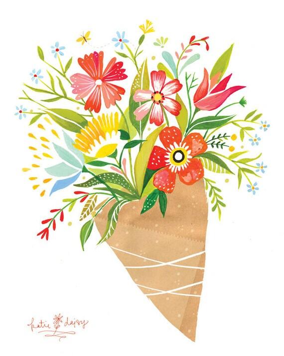 Wildflower Bouquet | Botanical Art Print | Katie Daisy | Vertical Print |