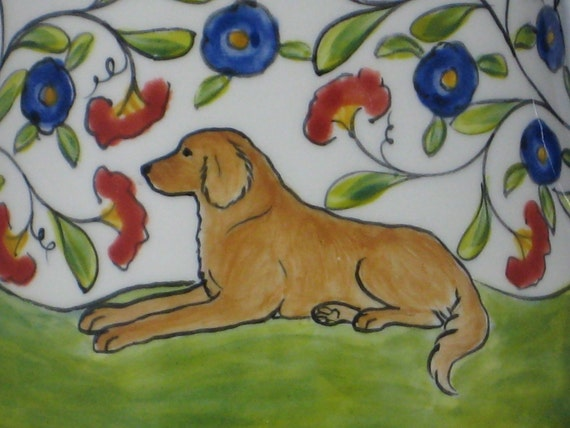 Golden Retriever Hand Painted Ceramic Sugar Bowl - Reserved for MARY ELLEN