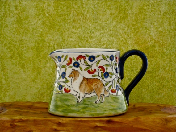 Hand Painted Sheltie or Collie Creamer