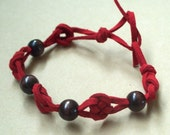 Macrame Josephine Knot Suede Leather and Wood Bracelet