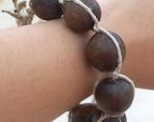 Wooden Bead Macrame Hemp Bracelet