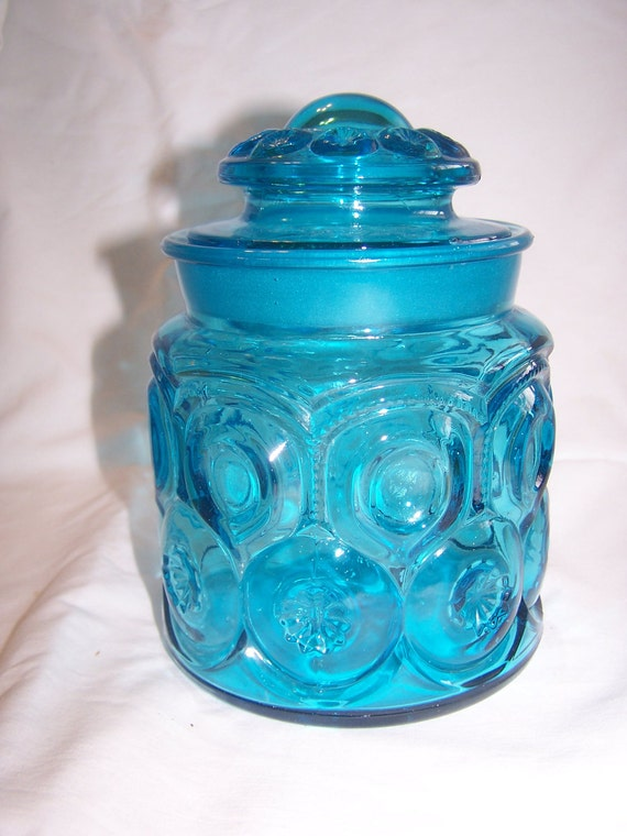 Vintage Blue Moon & Stars Small Canister Number 1